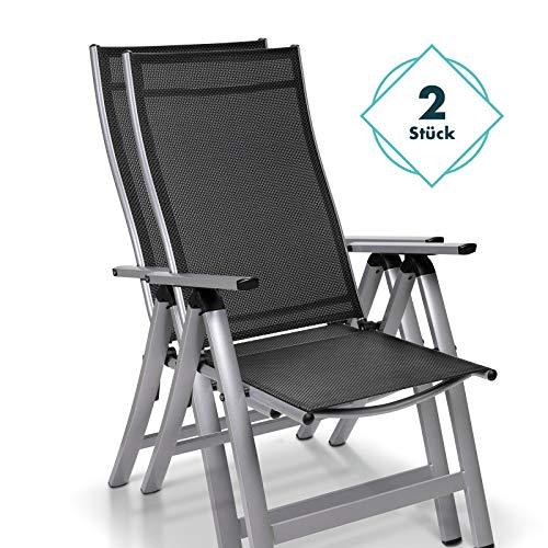 Homeoutfit24 Sun Garden Premium Line 2er Set Gartenstuhl Hochlehner London in Silber, Klappsessel aus Aluminium & robustem Kunststoff, wetterfeste Gartenmöbel