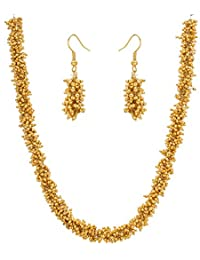 Aadita Traditional Ethnic Pearl Studded Necklace Set With Earrings For Women And Girls
