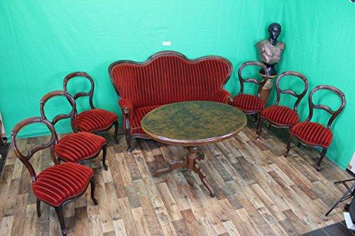 Grünwald-Shop Antik Sitzgarnitur Sofa 6 Stühle Biedermeier Louis Philippe Barock Nussbaum