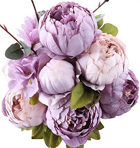Ksnrang Künstliche Blumen Pfingstrose Kunstblumen Seidenblumen Gefälschte Unechte Blumen Seidenpfingstrose Seide Blumenstrauß Jahrgang Hochzeit Zuhause Dekoration (Neues Lila) (Lila Blumenstrauß Blumen)