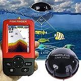 XQxiqi689sy Cercatore di Pesci di profondità Portatile Intelligente con fishfinder ecoscandaglio sensore Wireless 100M