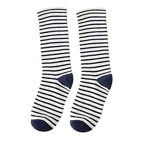 Damen-candy-gestreifte Socken (SIJEMF 5 stücke Herbst Gestreifte Socken Frauen Candy Farbe Socken Medien Baumwolle Dicke Warme Lange Socken)