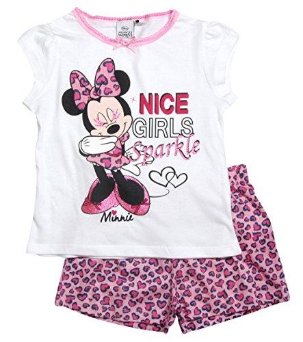 Rosa Baumwoll-shorty-pyjama (Minnie Mouse 2017 Schlafanzug Shorty 92 98 104 110 116 122 128 Mädchen Shortie Disney Pyjama Kurz Neu Maus (122 - 128, Weiß-Rosa))