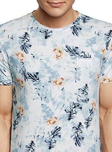 oodji Ultra Herren Bedrucktes Baumwoll-T-Shirt Blau (7541F)