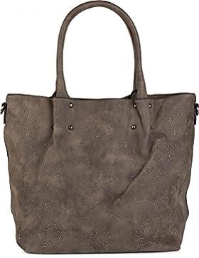styleBREAKER Vintage Shopper Tasche mit All Over Nieten in Stern Form, Schultertasche, Umhängetasche, Handtasche...