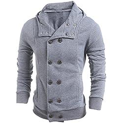 FEITONG TOP moda delgada para hombre Algodón Diseñado capa de la chaqueta de solapa Cardigan (M, Gris)