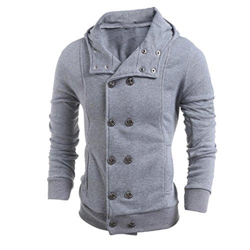 FEITONG TOP moda delgada para hombre Algodón Diseñado capa de la chaqueta de solapa Cardigan (XL, Gris)