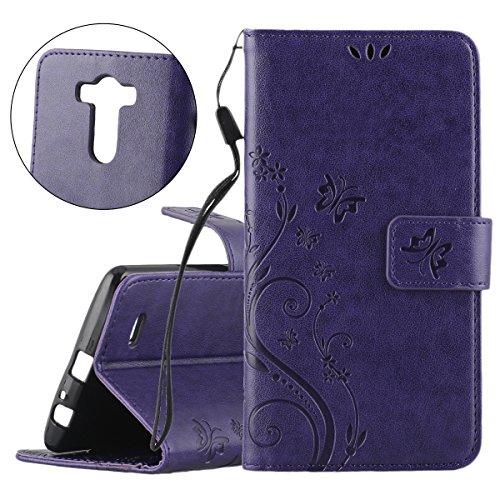 ISAKEN Custodia LG G3, Cover LG G3 Flip Case, Elegante borsa Farfalla Design in Pelle Sintetica Ecopelle PU Case Cover Protettiva Flip Portafoglio Case Cover Protezione Caso per LG G3/ con Supporto di Stand / Strap / Carte Slot / Chiusura - Butterfly: violet