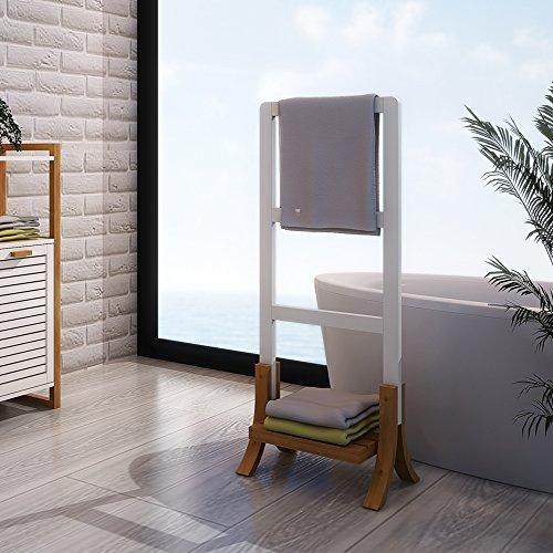 Style home Badezimmer Handtuchständer Handtuchhalter Bambus MDF Wasserfest Weiß SH29M11012-WIE (Weißes Regal Handtuchhalter)
