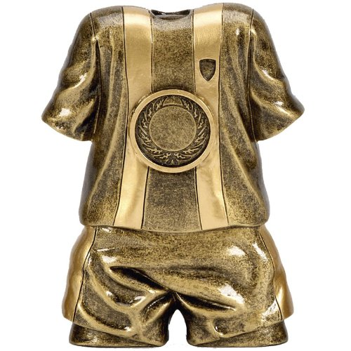 4 75    Antique Gold Premiere5 Shirt   Shorts Football Trophy with FREE engraving up to 30 letters A1433C