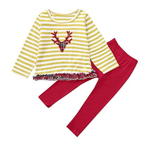 YEARNLY Weihnachten Kleinkind Kinder Baby Mädchen Jungen Gestreiften Spitze T-shirt Tops Hosen Outfits Set Weihnachten Langarm Gestreiften Weihnachten Top Hosen Set