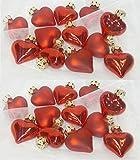 RW Herzen 24-tlg.-Set - rot - matt und hochglanz aus Glas Weihnachten Christbaumschmuck Christbaumkugel Herz Hochzeit Valentinstag Muttertag