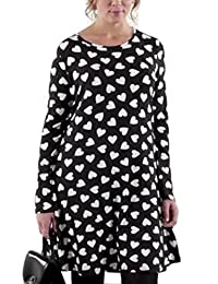 TopsandDresses Ladies Black White Heart Long Sleeved Dress Tunic Plus Size 20-22