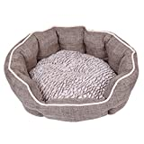 Dream Paws Luxury Complimentary Comfortable Pet/Dog/Animal Reversible Cushion Faux Non-Slip Base Washable Cosy Bed, Medium/Large, Brown