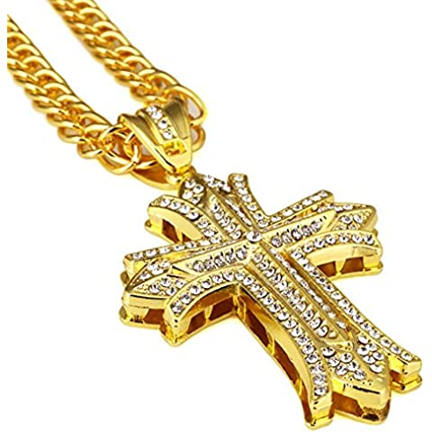Gudeke Los diamantes Iglesia hombres de las mujeres de 18 quilates chapado en oro cruz doble del cordón de collares 32
