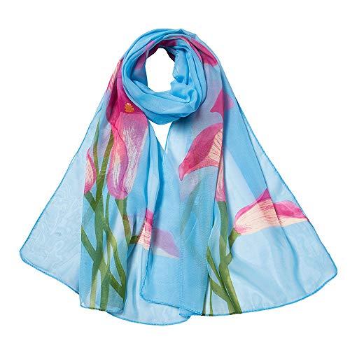 Xmiral Damen Schal Fashion Peach Blossom Druck Lang Weich Wrap Schal Damen Schal Schals(Blau)