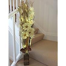 Link Products - Vasi in legno con fiori ed erba artificiali e luci LED, Cream & gold, 100 cm