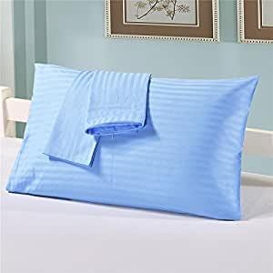 Pure Cotton Satin Stripe Or Plaid Pillow Case Solid Color Pillowcase Home Hotel Use Queen King Size- Set of 2 (Blue)