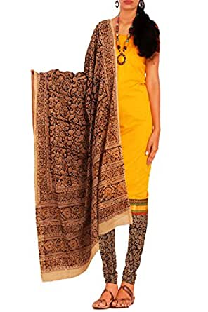 Unnati Silks Women yellow-black Chettinadu cotton kalamkari salwar kameez dress material