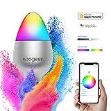 Koogeek Navidad Bombilla WiFi Inteligente E27 8W Compatible con Apple Homekit Google Assistan y Alexa 16 Millones Colores Luz Regulable Temporizador Control Remoto por Siri Trabaja en 2.4Ghz
