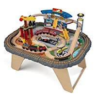 KidKraft 17564 Transportation Station Wooden Train Track Set & Table for kids, classic railway activity playset with accessories included (58 pcs)