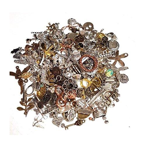 Metall Anhänger Mix 100g Verbinder Metallperlen für Halskette Charm Mischung Mix Bunt Silber Gold von Vintageparts, DIY-Schmuck Fassung Medaillons Anhänger Ketten M66 -
