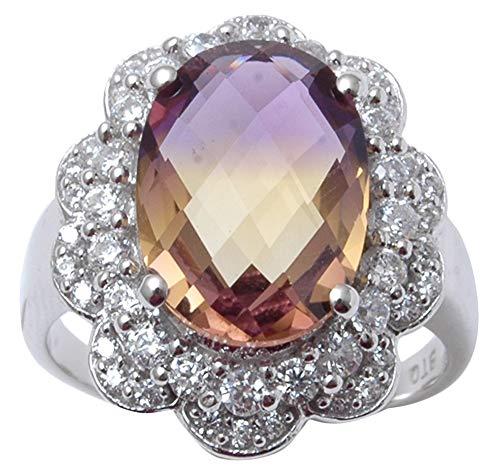ing Silber Ametrine Steindesigner Ring indische Mode Frauen Schmuck-60 (19.1) ()