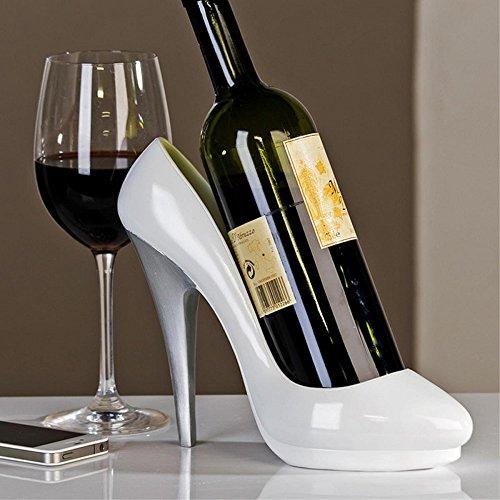 Moderner Weinflaschenhalter Lady Pumps High Heels aus Poly weiß/silber Höhe 20 cm