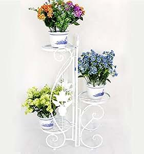 Porte Plantes Décoratif En Fer Forgé ? Etagère De Jardin - 3 Niveaux ? Blanc
