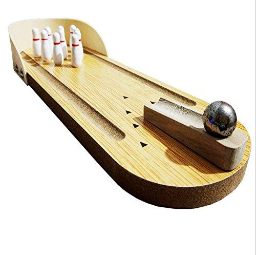 Bowling Ball Spiel Set Mini Tisch-Bowling System aus Holz Familie Büro Spielzeug für Erwachsene und Kinder Stressabbau und Party Gefallen mit 1 Metallkugel