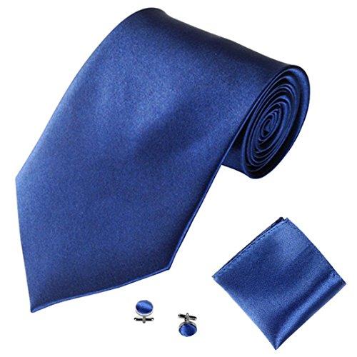 Cravate Homme, Moonuy Hommes à la mode cravate couleur unie tie Désherbage de mariage et cravate quotidienne de partie d'usure Ensemble de cravate de mouchoir de poche carré (I)