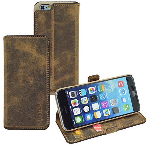 iPhone 6s - Suncase Book-Style Ledertasche Leder Tasche Handytasche Schutzhülle Case Hülle (mit Standfunktion und Kartenfach) antik-braun Antik-Braun