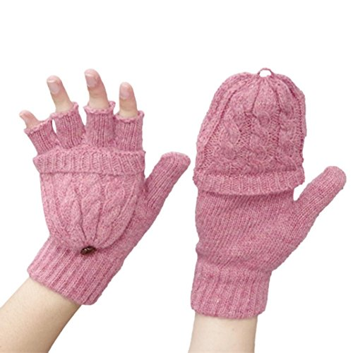 Guantes Lana de Tejer Invierno Mujer , FAMILIZO Mujer de punto Stretch Elástico Warm Half Finger Sin dedos Gloves (Rosa)