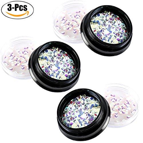 Kapmore 3 Boîtes Clou Paillettes Beauté des Ongles Briller Brillant 3D Diamant Forme Clou Décoration de Beauté pour Femme