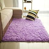 Bibabo25 - Tappeto a pelo lungo in tessuto felpato, antiscivolo, ideale per ilsoggiorno, morbido tappeto da collocare sul pavimento davanti alla porta, Poliestere, Purple, 60cm by 160cm