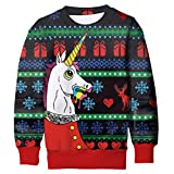 Funnycokid Mädchen Ugly Christmas Sweater Unicorn Langarm Novelty Pullover Jungen X-Mas Sweater Grün