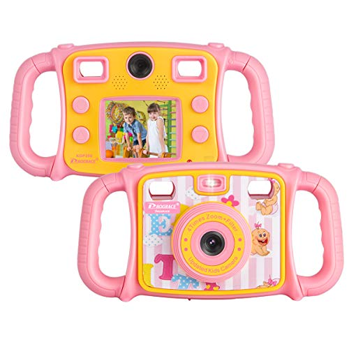 DROGRACE Kinderkamera 1080P HD Digital Foto / Video Kamera Selfie Dual Kamera mit 4-fachem Zoom, Blitzlicht, 5,1 cm LCD und Tropfenfest für Jungen Mädchen Geburtstag Pink