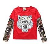 YiJee Kinder Langarm Tattoo Print T-Shirt Herbst und Winter Casual Tops M