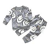 Babykleidung Babymode Babyklamotten Günstig Neugeborene Kleidung Longra Baby Mädchen Jungen Drucken von Elefanten Babybekleidung mit Langarm T-Shirt +Hosen Bekleidungssets (Gray, 70CM 3Monate)