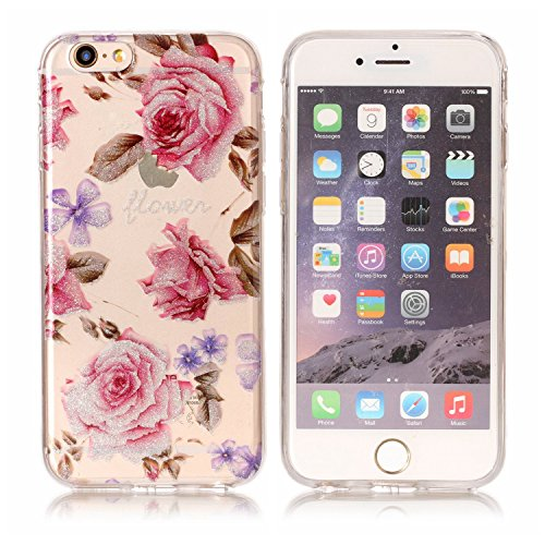 Coque iPhone 6S , Bling Glitter Transparente TPU Case Silicone Slim Souple Étui de Protection Flexible Soft Cover avec Motif Coloré pour iPhone 6 Anti Choc Ultra Mince Integrale Couverture Bumper Caou Rose
