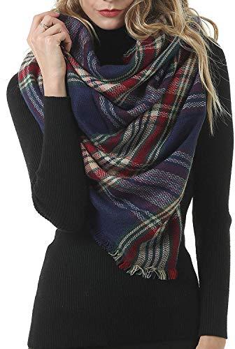 BUDERMMY Damen Schal XXL Oversized Kariert Winterschal übergroßer Quadratisch Deckenschal Streifen Plaid Muster Poncho 140 * 140CM (A01) -
