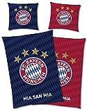 FC Bayern München Wende-Bettwäsche - MIA SAN MIA Glow in The Dark 135 x 200 + 80 x 80 cm 100% Baumwolle Linon Renforcé Fußball FCB Allianz Arena Rekordmeister deutsche Größe mit Reißverschluss