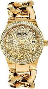 So y Co diseño de rayas de Nueva York Dorado para Mujer reloj infantil de cuarzo con esfera analógica y dorado correa de acero inoxidable de 5083,2 de So & Co New York