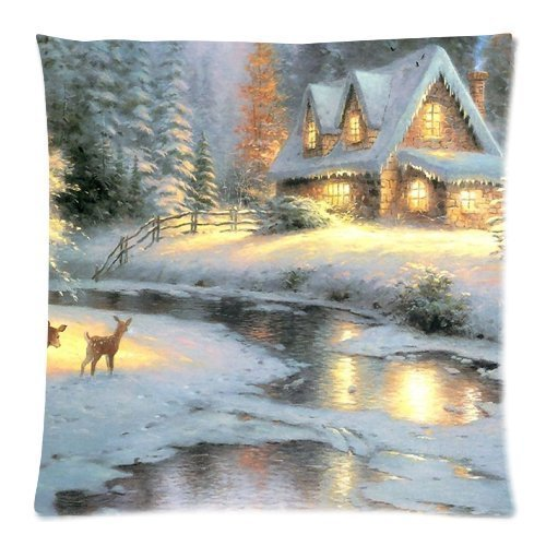 Thomas Kinkade Deer Creek Cottage Pillowcases Custom Pillow Case Cushion Cover 18 X 18 inch Two Sides Deer Creek Cottage