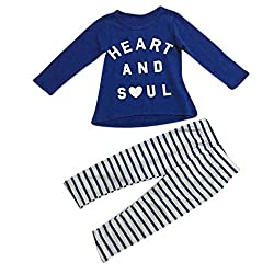 For 1-6 Years old Girls,Clode® Toddler Girl Outfit Clothes Letter Print T-shirt Tops and Stripe Long Pants 2 Pieces Clothes Outfit