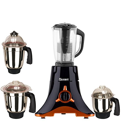 Sunmeet Black Color 550Watts Mixer Juicer Grinder with 4 Jar (1 Juicer Jar with filter, 1 Large Jar, 1 Medium Jar and 1 Chuntey Jar) New 2019-01