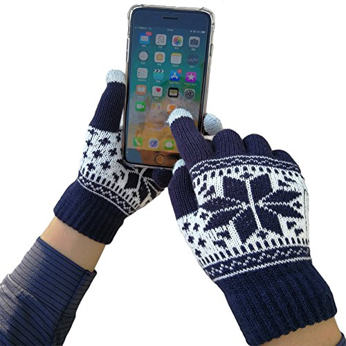 iEverest Unisex Touchscreen Handschuhe Lover Handschuhe Gestrickte Touchscreen Schneeflocken-Handschuhe dicke Handschuhe Smartphone Touchscreen Handschuhe Vollfingerhandschuhe