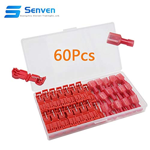 Senven 60Pcs (30 Paare) fortschrittliche T-Tap-Anschlussklemme Abzweigverbinder, T-Schnellverbinder + Vollisolierter Flachstecker - Rot 60Pcs