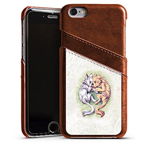 Apple iPhone 4 Housse Étui Silicone Coque Protection Chien Loup Dessin Étui en cuir marron