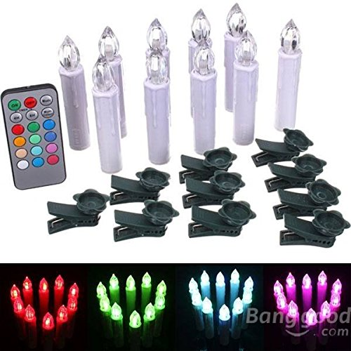 Global 10pcs Remote Control Bunte LED flammenlose Kerzen Licht Weihnachtsdekor